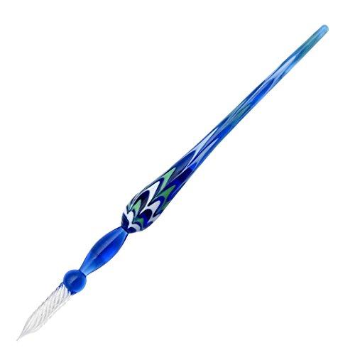 Gullor Glas Dip Stift Vintage Handgemachte Glas Unterschrift Stift Kristall Dip Zeichen Stift Geschenk Stift, Blau Glas Dip