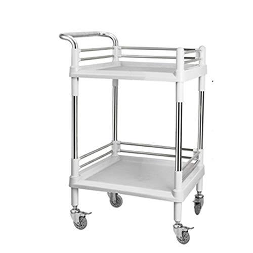 Küchenwagen 2-Regal-Servierwagen für die Küche, Servierwagen für gewerbliche Zwecke/Kunststoff-Servierwagen mit Bremse, Blau/Grau/Pink (Color : Gray, Size : 54.5×37×88cm)