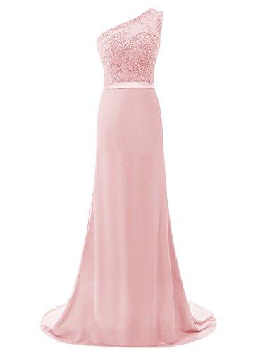 Dresstells Bodenlang Abendkleider One Shoulder Chiffon Promi-Kleider Rosa