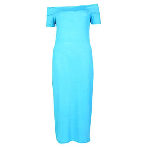 Fashion 4 Less - Robe - Manches Courtes - Femme Rouge - Turquoise