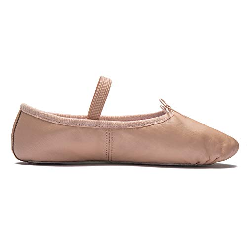 DWS 1003 Ballett Ballerina Tanz Gymnastik Sport Hallen Trainings Schläppchen Schuhe Leder Kinder Damen Mittlere Weite Rosa, Weiß und Schwarz, GB c8.5, EU 26, Pink