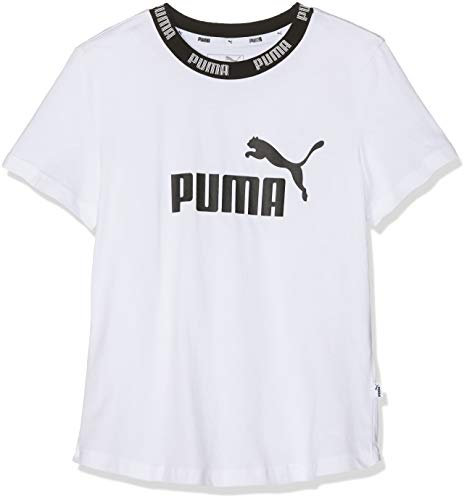 PUMA Mädchen Amplified Tee G T Shirt, White, 140