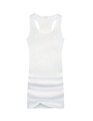 Bestgift Femme Basic Coton Longue Débardeurs Blanc Taille Unique Bestgift