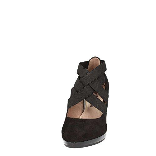 MELLUSO V5612 Les chaussures noires dcollet élastique talon Suede Chunky Nero