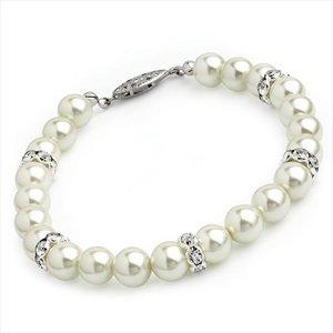 Cream Pearl Glass Bracelet Bl07418