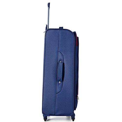 Aerolite Große Leichtgewicht 4 Rollen Trolley Koffer Reisekoffer Rollkoffer Gepäck , 81cm , Marineblau/Pflaume - 2