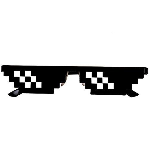 Thug Kostüm Mädchen - Skryo Thug Life Glasses 8-Bit-Pixel-Deal mit IT-Sonnenbrillen Unisex-Sonnenbrillen-Spielzeug (B)