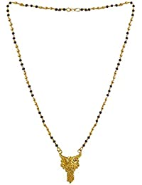 DollsofIndia Gold Plated Mangalsutra - Necklace - 17.5 Inches, Pendant - 1.25 Inches (RD17-mod) - Black, Golden