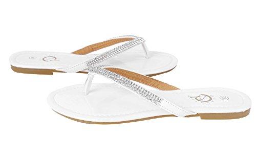 Verão Deslizador Sandálias Couro Sapatos Praia Toe Rasos Eozy Senhoras Branco Trenner 5xAwfWzn
