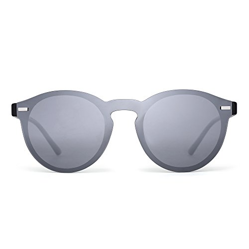 JIM HALO Polarisiert Randlos Sonnenbrille Reflektierend Ein Stück Runde Gespiegelte Brillen Zum Damen Herren(Schwarz/Silber)