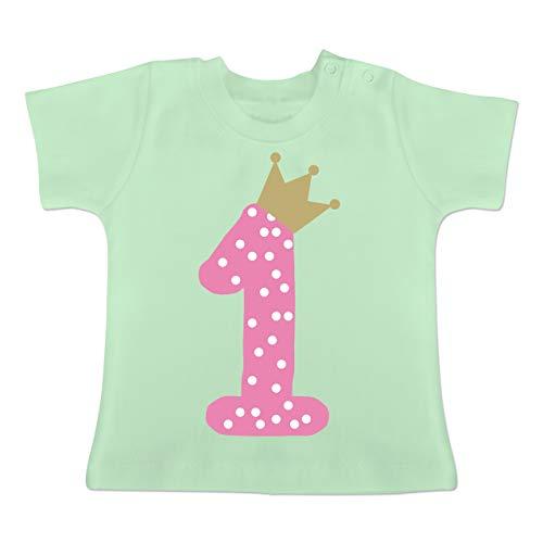 Geburtstag Baby - 1. Geburtstag Krone Mädchen Erster - 6-12 Monate - Mintgrün - BZ02 - Baby T-Shirt Kurzarm