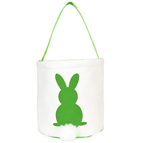 he, Osterhasen-Muster, Segeltuch, mit Einem Griff, Geschenkkorb, Handtasche grün ()