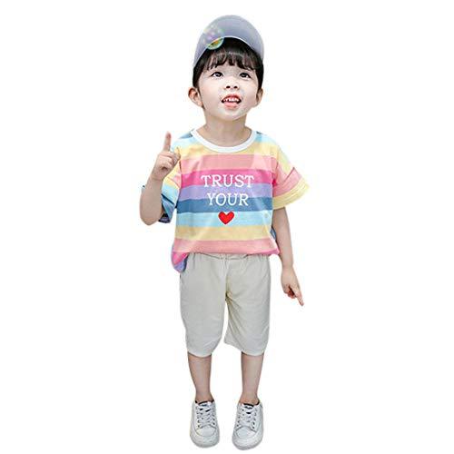 der 3D Cartoon Wings gestreiften Regenbogen Kurzarm + Shorts zweiteiliges Set Regenbogen Flügel Streifen Tops T-Shirt Hosen Outfits Set ()