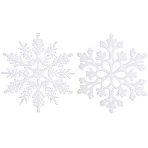 Sea team - decorazioni per albero di natale ornamentali in plastica con glitter, 10cm, confezione da 36 white