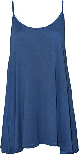 WearAll - Grande taille swing débardeur top à lanières - Hauts - Femmes - Tailles 44 à 50 Bleu royal
