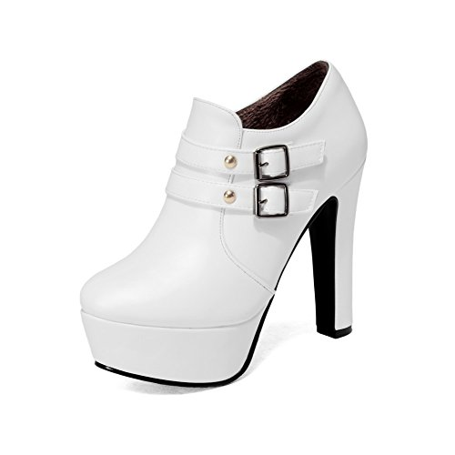 31gRkNadhKL UK BEST BUY #1AllhqFashion Womens High Heels Solid Round Closed Toe Zipper Boots, White, 35 price Reviews uk