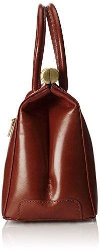CTM-Tasche Frau, Elegante Satchel mit Griffen und Schulterriemen aus echtem Leder, 35x28x16cm Braun (Marrone)