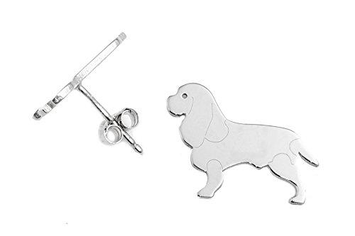 CAVALIER KING CHARLES SPANIEL Hunde Ohrstecker 925 Sterling Silber Schmuck OP -