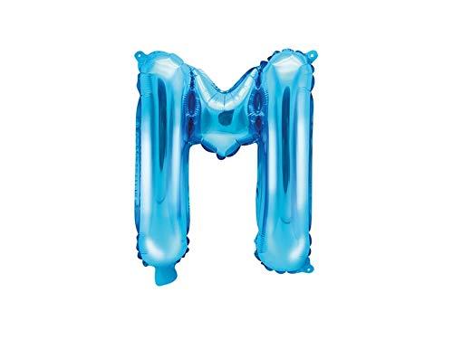 SiDeSo® Folienballon 35cm Blau Heliumgeeignet Party Geburtstag Jahrestag Hochzeitstag Jubiläum Zahlenluftballon Luftballon Buchstabe Zahl Alphabet (Buchstabe M) (Namen Auf Sie Mit Geburtstags-luftballons)