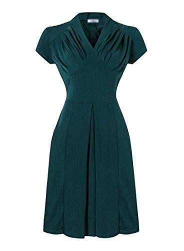 E-Girl EM113818D Vintage pin-up 50s robe de soirée,bal cocktail Rockabilly Swing,S-XXL Vert
