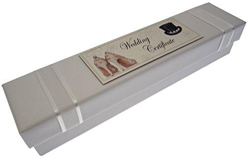 Tarjetas de algodón blanco de titular del certificado de la boda (sombrero de copa y zapatos)