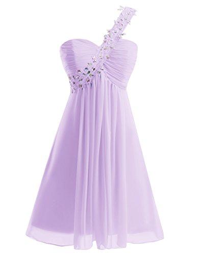 Dresstells Damen Kurz Chiffon Herzform One Shoulder Brautjungfernkleider Lavender