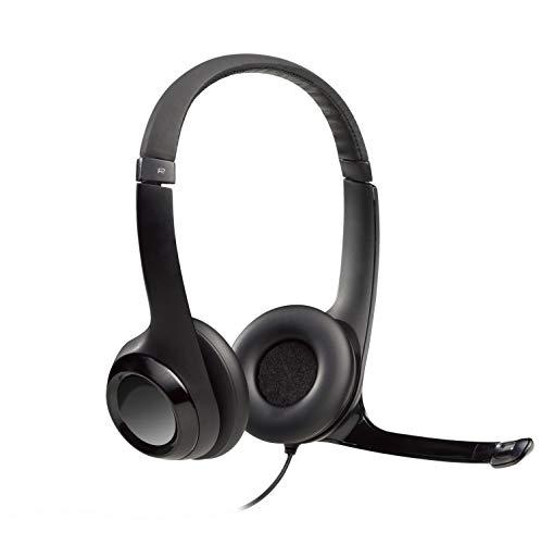Logitech usb headset h390, cuffie con microfono per pc o laptop, nero