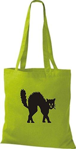 Shirtinstyle Borsa Di Stoffa Motivo Di Gatto Razza Gatto Divertente Animali Selezionatore Gatto Vario Colore Verde Lime