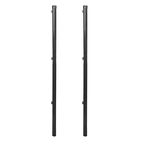 vidaXL 2x Poteau Clôture pour Clôture en Mailles 150 cm Gris Clôture de Jardin
