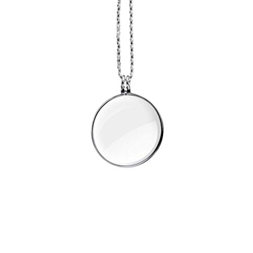 """Moolo Lupen Leselupe, 10X Kette Halskette Lupe Anhänger mit 1,65"""" Glaslinse zum Lesen Schmuck Inspektion Geschenk (Farbe : Silber)"""