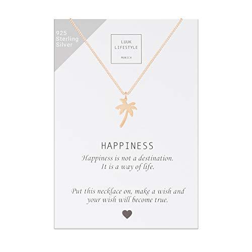 LUUK LIFESTYLE Sterling Silber 925 Halskette mit Palmen Anhänger und Happiness Spruchkarte, Glücksbringer, Damen Schmuck, rosè