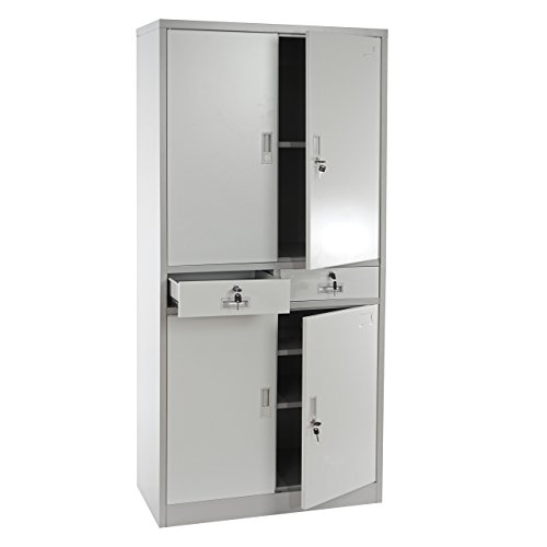 Aktenschrank Boston T132, Metallschrank Büroschrank, 51kg 4 Türen 2 Schubladen 180x85x40cm ~ creme