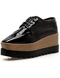 Las Mujeres De La Bomba Mocasines Grueso Inferior Cuña Tacón Zapatos De Plataforma Casual Encaje hasta Zapatos Casuales UE Tamaño 35-40,Black,40EU