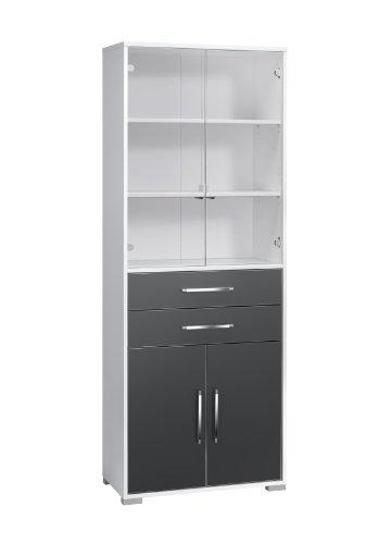 MAJA-Möbel 1234 3974 Aktenregal mit Glastüren, Schubladen und Türen, Icy-weiß - grau Hochglanz, Abmessungen BxHxT: 80 x 214,5 x 40 cm
