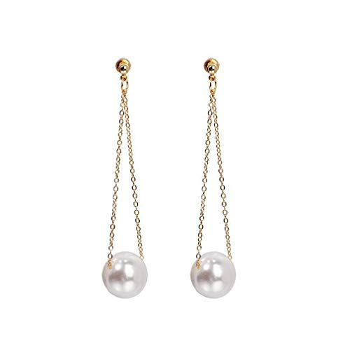 Weiy Lange Kette Perle Ohrring Imitation Perle baumeln Ohrringe Perle Kette Ohrstecker Drop Ball Ohrstecker für Frauen Lady, Gold - Ohrringe Ball Gold Drop