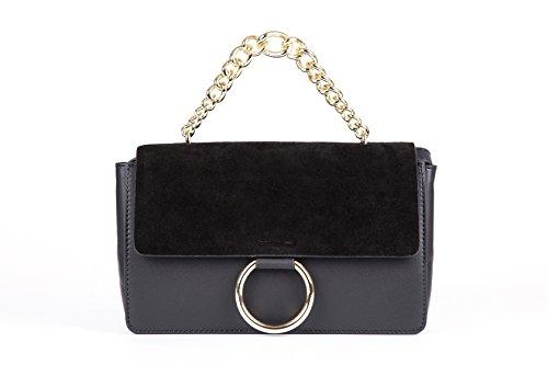LI&HI Handtasche Damen Elegant Leder Taschen Frauen Handtaschen Crossbody Umhängetaschen Schultertaschen - 24/16/7 cm (B*H*T) (Schwarz) (Leder Handtasche Schwarze Kalb)
