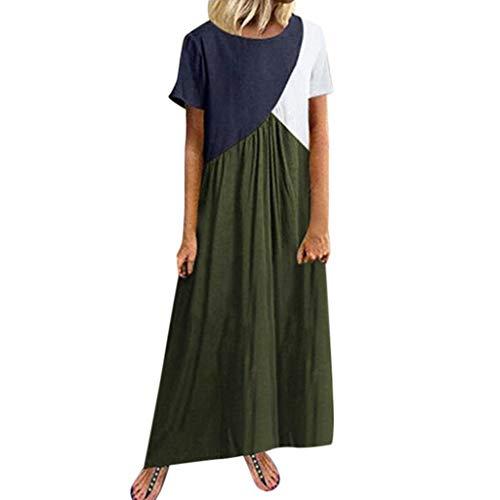 Kostüm Pfau Sexy Deluxe - Zottom,Damen Abendkleider lang große größen,Damen-Sommer-beiläufiges spleißendes Kleid-Kurzschluss-Hülsen-runder Ansatz-Loses langes Kleid