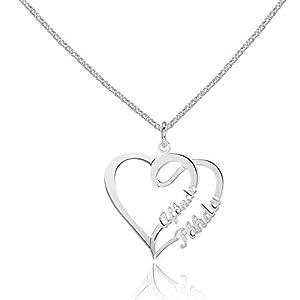 Namenskette Herz 925 Sterling Silber mit zwei Wunschnamen, individuelle Silber - Rosegold -Gold Kette mit Namen Herzanhänger