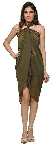 Einfarbig Sarong, Coverup, Schal, übergröße 110cm x 200cm 50%Viskose 50%Baumwolle - olivgrün