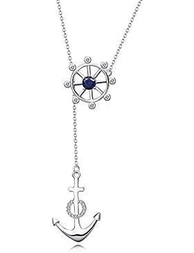 YFN Halskette Damen 925 Sterling Silber Schiff Paddel Anker Anhänger Kette Herz für Mädchen Schmuck16
