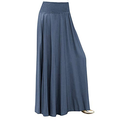 (SEWORLD Karneval Carnival Fasching Damen Elastische Taille Feste Faltenrock Vintage A-Linie Lose Lange Röcke(Blau,2XL))