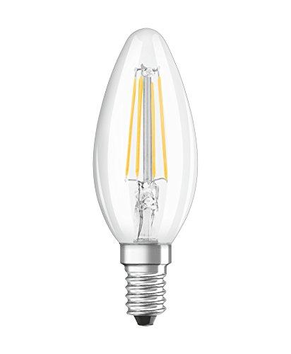 Osram LED Star Classic B Lampe, in Kerzenform mit E14-Sockel, nicht dimmbar, Ersetzt 40 Watt, Filamentstil Klar, Warmweiß - 2700 Kelvin, 1er-Pack