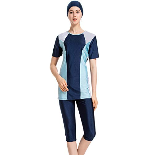 Xmansky Islamischen Muslimischen Damen Geteilter Badeanzug 3 Stück,Sommer Beachwear Swimwear Burkini|1PC Badekappe + 1PC Kurzarm Badeanzug mit Pad + 1 PC Shorts Badehose -