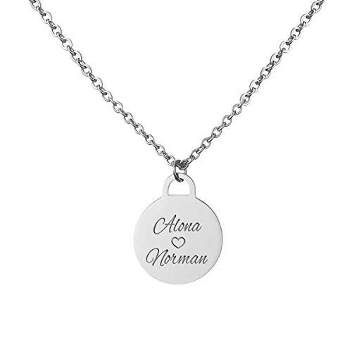 URBANHELDEN - Kette mit Wunschgravur - Damen-Kette Namenskette - Amulett mit zwei Namen graviert - Personalisierte Münz-Kette Coin 1 - Silber