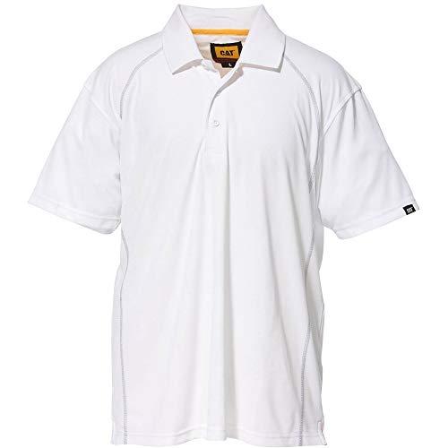 Caterpillar Mens Performance Polyester Pique Polo Shirt White - Performance-polyester Pique Polo