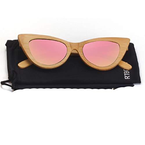 DAIYSNAFDN Cat Eye Holz Sonnenbrille Frauen Polarisierte Spiegel Brille Bambus Rahmen Handgemachte Uv400 Vintage Shades Brillen C6