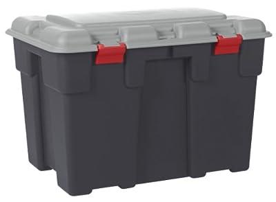 Aufbewahrungsbox, Klappdeckel mit Scharnieren, aus Kunststoff, hochbelastbar, groß, 185l, zweifärbig, Grau von ALLIBERT auf Du und dein Garten