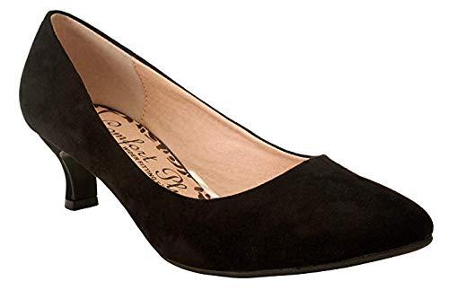 Comfort Plus Damen-Slipper, weite Passform, Memory-Schaum, rutschfest, mittelhoher Absatz, für Party, Büro, Arbeit-Größen 35 1/2 - 42, Schwarz - schwarze Velourslederoptik - Größe: 42