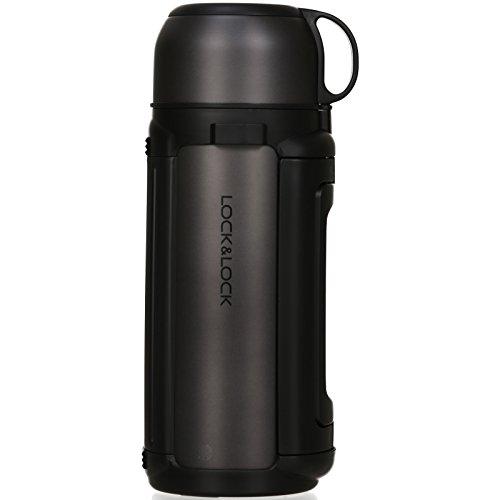 LOCK & LOCK Isolierkanne 1,5 Liter - NEW GIANT HOT TANK - Isolierflasche Edelstahl auslaufsicher - Thermo Warmhaltekanne für Kaffee, Tee & Kaltes - Anthrazit -