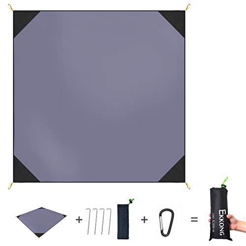 e, 100% wasserfeste Picknickdecke - Portable Premium Pocket Blanket - ideal für Reisen, Camping und Festivals (200 x 200cm, Grau) ()